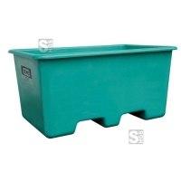 Rechteckbehälter aus GFK, 200 oder 400 Liter, unterfahrbar, stapelbar, verschiedene Farben