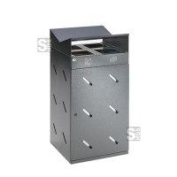Recyclingstation -Cubo Amado- 200 Liter aus Stahl mit Dach und 4 Einwurföffnungen, mobil, verstellbare Füße