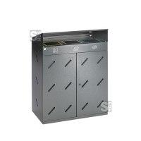 Recyclingstation -Cubo Damian- 300 Liter, Stahl, mit Dach und 3 Einwurföffnungen, verstellb. Füße