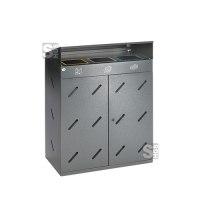 Recyclingstation -Cubo Damian- 300 Liter aus Stahl mit Dach und 3 Einwurföffnungen, mobil, verstellbare Füße