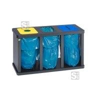 Recyclingstation -Cubo Digna- 180-480 Liter, Stahl mit 3 oder 4 Einwurföffnungen, verstellb. Füße