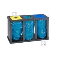 Recyclingstation -Cubo Digna- 180-480 Liter aus Stahl mit 3 oder 4 Einwurföffnungen, mobil, verstellbare Füße