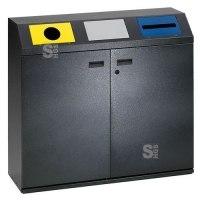 Recyclingstation -Cubo Frasco- 240 Liter aus Stahlblech, mit Doppelflügeltür, mobil