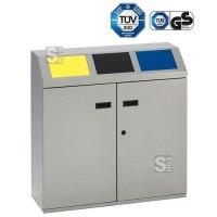 Recyclingstation -Cubo Martino- 150 Liter aus Stahl, mit 3 farbigen Einwurfsklappen