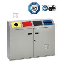 Recyclingstation -Cubo Martino- 200 Liter aus Stahl, mit 4 farbigen Einwurfsklappen