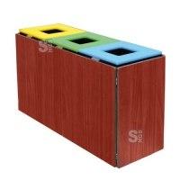 Recyclingstation -Trio-, 150 Liter aus Stahl und Holz