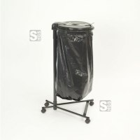 Restposten Müllsackständer -Klassik Mobil Mono- fahrbar, 120 Liter, Stahl schwarz, inkl. 4 Rollen