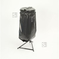 Restposten Müllsackständer -Klassik Stabil Mono-, 120 Liter, Stahl schwarz, inkl. Kunststoffdeckel schwarz