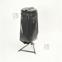 Restposten Müllsackständer -Klassik Stabil Mono-, 120 Liter, schwarz, inkl. Kunststoffdeckel