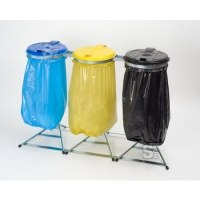 Restposten Müllsackständer -Klassik Stabil Trio-, 3x 120 Liter, verzinkter Stahl, inkl. Kunststoffdeckel schwarz / blau / gelb