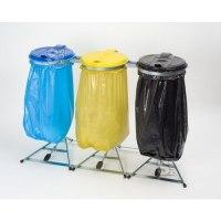 Restposten Müllsackständer -Klassik Stabil Trio- mit Pedal, 3x 120 Liter, verzinkter Stahl, inkl. Kunststoffdeckel schwarz / blau / gelb