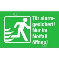 Rettungs-Kombischild Tür alarmgesichert!...