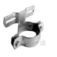 Rohrschelle aus verzinktem Stahl für Flach-VZ, inkl. Schrauben und Muttern, Pfosten Ø 42-108 mm, Lochabstand 70-900 mm