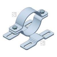 Rohrschelle mit Doppelsteg für Flach-VZ, inkl. Schrauben und Muttern