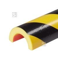 Rohrschutz -Protect- Knuffi® aus PU, Länge 5000 mm (Rolle), gelb / schwarz, Bogen 30 / 50 mm oder 50 / 70 mm, selbstklebend, extrem abriebfest