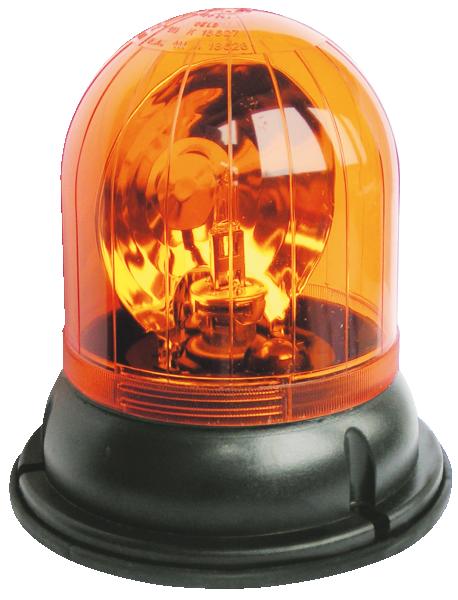 Rundumkennleuchte MRT ISO B mit Flacksockel, Standard DIN B1, Stahlspiegel, Rutschkupplung