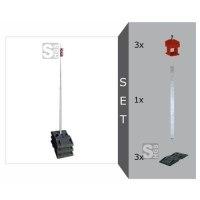 Schildaufstellung Komplett-Set III schwer, mit Schaftrohr aus Vierkantrohr und 3 Fußplatten - gem. TL