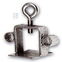 Schilderklemme aus Stahl mit angeschweißten Ösen, für Vierkantrohr 40x40mm und Rundrohr Ø42mm