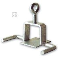 Schilderklemme mit angeschweißten Haken, für Vierkantrohr 40 x 40 mm und Rundrohr Ø 42 mm