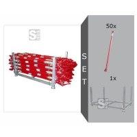 Schrägstützen Komplett-Set, 50 lackierte Stützen mit beidseitigen Endgelenken inkl. Stapelpalette
