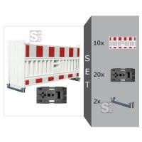 Schrankenzaun Komplett-Set -Vario III-, mit 10x Schrankenzaun, 2 Lagerschienen, 20x Fußplatte K1