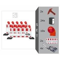 Schrankenzaun Komplett-Set -Vario II- für Vollsperrungen, inkl. Warnleuchten, Fußplatten, Batterien und Secura-Schlüssel