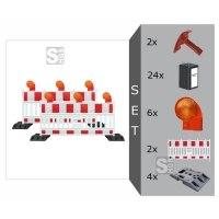 Schrankenzaun Komplett-Set -Vario I- für Teilsperrungen, inkl. Warnleuchten, Fußplatten, Batterien und Secura-Schlüssel