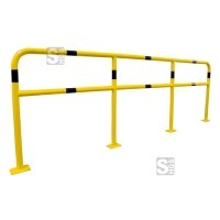 Schutzgeländer aus Stahlrohr Ø 48 mm, zum Aufdübeln, gelb / schwarz, Höhe 1000 mm