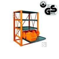 Schwerlast-Regal -S2280- aus Stahl, Tragkraft 1000 kg, mit ausziehbaren Fachböden, GS-geprüft