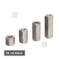 Sechskantmuttern SW 30 für Rollgewinestab Ø 15 mm, VE 10 Stück