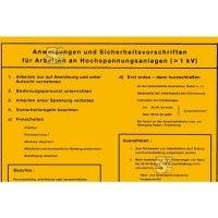 Sicherheitsaushang, Anweisungen u. Sicherheitsvorschriften für Arbeiten an Hochspannung... (>1kV)