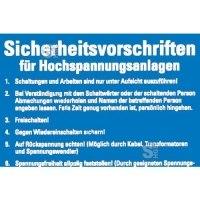 Sicherheitsaushang, Sicherheitsvorschriften für Hochspannungsanlagen