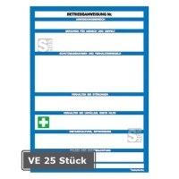Sicherheitsaushang, VE 25 Stück, Betriebsanweisung für Maschinen, Vordruck zur Selbstbeschriftung