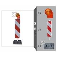 Sicherheitsbake mit D-System Komplett-Set, BASt-geprüft nach TL-Leitbaken, wahlweise Folie RA1 oder RA2 (Typ 1 / Typ 2)