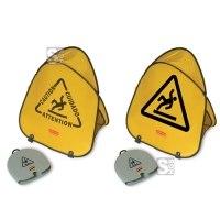 Sicherheitspylon, faltbar, mehrsprachig bedruckt - inkl. Lagerbehälter