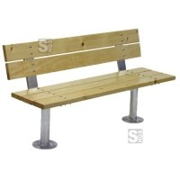 Sitzbank -Altola- mit Rückenlehne, aus Stahl, Sitz- und Rückenfläche aus Fichte, zum Aufdübeln