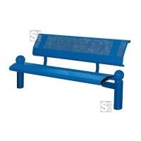 Sitzbank -Bowl- mit Rückenlehne, aus Stahl, Sitz- und Rückenfläche aus Stahllochblech