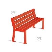 Sitzbank -Child- für Kindergarten u. Grundschule, aus Stahl, Sitz- u. Rückenfläche aus Eichenholz