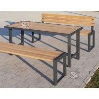 Sitzbank -Delion- aus Stahl, Sitzfläche 1800 mm aus Hartholz, wahlweise mit oder ohne Rückenlehne