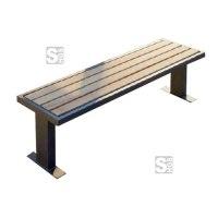 Sitzbank -Delion- aus Stahl, Sitzfläche aus Hartholz, wahlweise mit oder ohne Rückenlehne, zum Aufdübeln oder Einbetonieren
