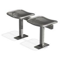 Sitzbank -Face- ohne Rückenlehne, aus Stahl, Sitzfläche aus Drahtgitter, wahlweise zum Aufdübeln, Einbetonieren oder mobil