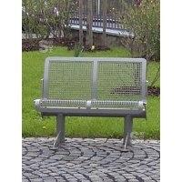 Sitzbank -Joku- mit Rückenlehne, Flachstahl, Sitz- und Rückenfläche aus Drahtgitter, fest o.mobil