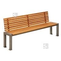 Sitzbank -Lumino- mit Rückenlehne, aus Stahl, Sitz- und Rückenfläche aus Robinien-Holz, mobil