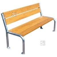 Sitzbank -Malaca- mit Rückenlehne, aus Stahl, Sitz- und Rückenfläche aus Fichte, mobil