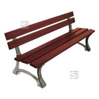 Sitzbank -Moro- mit Rückenlehne, aus Stahl, Sitz- und Rückenfläche aus Holz, zum Aufdübeln