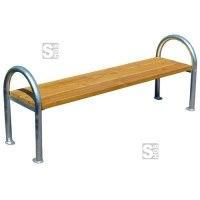 Sitzbank -Moya- ohne Rückenlehne, aus Stahl, Sitzfläche aus Fichte, mobil