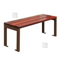 Sitzbank -Nature- ohne Rückenlehne, aus Stahl, Sitz- und Rückenfläche aus Eichenholz, Lasur Eiche hell oder Mahagoni, zum Aufdübeln