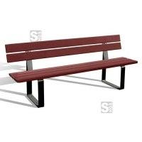 Sitzbank -Pine- mit Rückenlehne, aus Stahl, Sitz- und Rückenfläche aus Holz, zum Aufdübeln