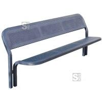 Sitzbank -Time- mit Rückenlehne, aus Stahl, Sitz- und Rückenfläche aus Stahlblech, zum Einbetonieren
