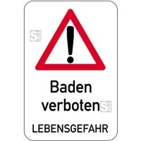 Sonderschild, Baden verboten Lebensgefahr